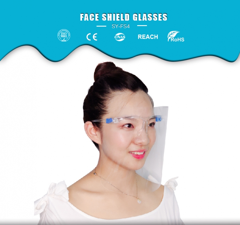 2020 China Hot Selling Anti Fog Eyeglass Visor Transparent Full Face Shields With Transparent Glass Frames